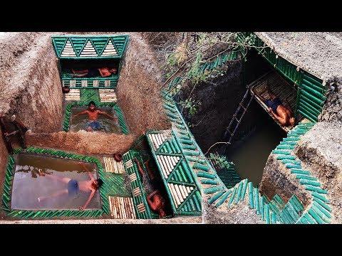 Build a secret underground bamboo house has beautiful pool