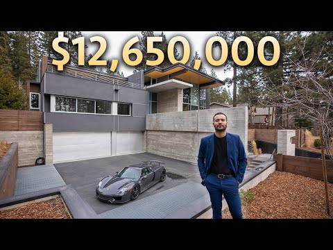 Touring a $12,650,000 LAKE TAHOE Modern Mansion with Garage Full of SUPERCARS!