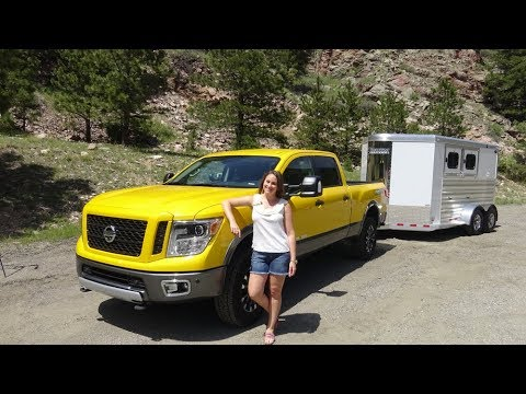 Nissan Titan XD Pro 4 X towing Cimarron horse trailer in Rockies review