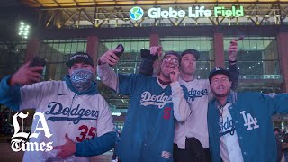 Dodger fans celebrate in Arlington as the team wins their first World Series in 32 years
