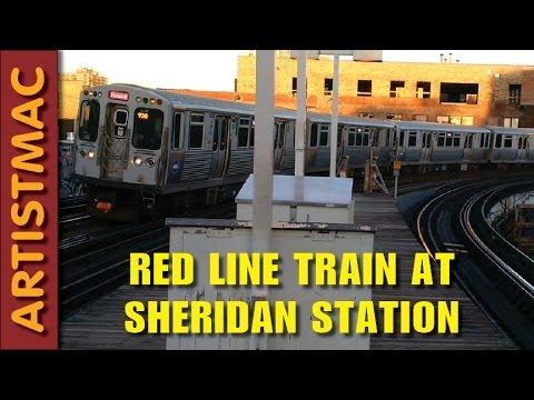 Northbound CTA Red Line Train at Sheridan Station, June 24, 2016