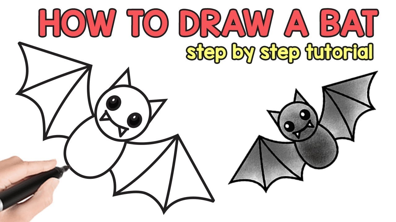 Bird | How to Draw a Bat - Cute Animals Cute Drawing