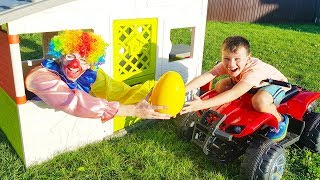 Ali and his friend play with big surprise eggs in the garden
