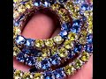 Aporro White Gold Tennis With Blue And Yellow Stones