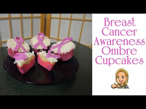 Ombre Pink Breast Cancer Awareness Cupcakes