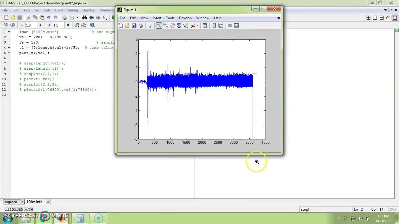 Plot 10 min ecg database in matlab