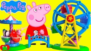 Peppa Pig Ferris Wheel Ride Learn Colors and Sharing at Fair Play Park