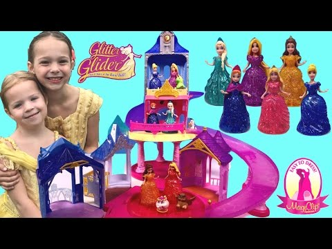 MagiClip Glitter Glider Mix Up ~ REAL Princess Belle Ariel Moana ~ Kids Show
