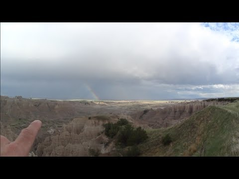 Touring Badlands SD, Two Different Colored Sunsets & Dual Rainbows at Same Time, May 2017