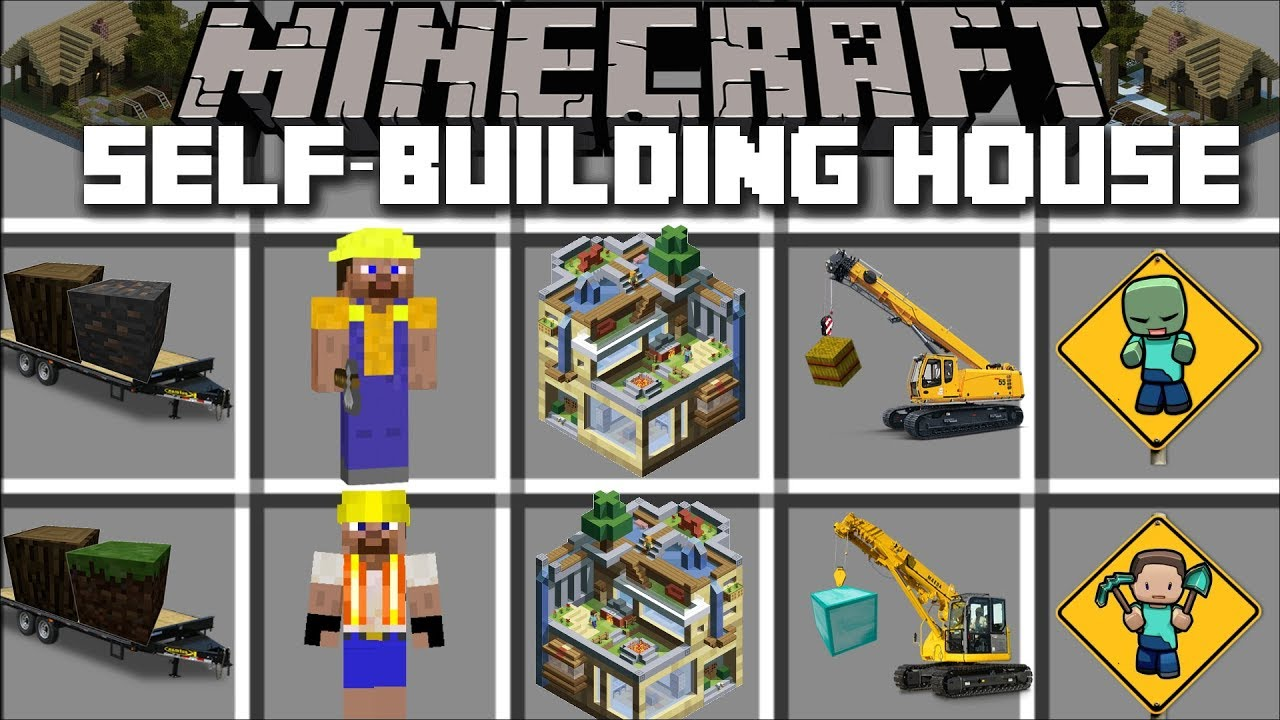 Minecraft Self Building House Mod Become A Construction Worker Minecraft Youtube