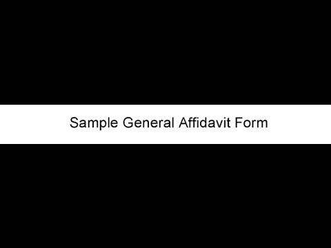 General Affidavit Form - YouTube - general affidavit form