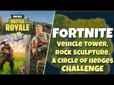 "Fortnite - ""Search between a Vehicle Tower , rock sculpture and a Circle of Hedges"" Challenge!!!!!!!"
