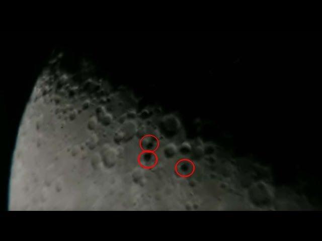 Astrónomo capta tres OVNIS en forma de disco volando en formación frente a la Luna