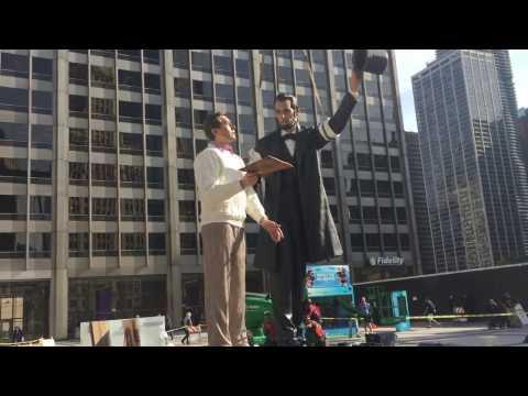 Raising the Lincoln Statue