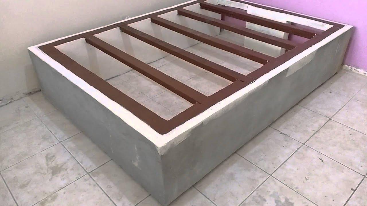 Cama box passo a passo cama de alvenaria/ cama a   #4A2E28 1920x1080 Banheiro Com Box De Alvenaria