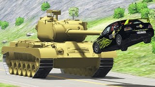 Cars vs Tank Crashes Beamng Drive