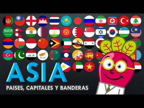 ASIA Paises Capitales Banderas Mapa para Niños GEO Educacion