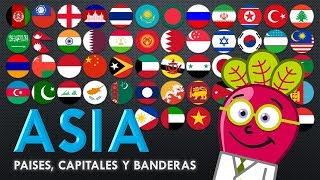 ASIA 🌏 Banderas Paises Capitales del Mundo Mapas para Niños