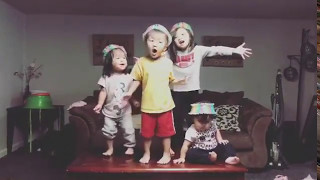 Kids performing their made-up song