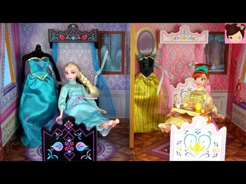 Elsa & Anna  Princess Bedroom Holiday Morning Routine -  Frozen Arendelle Castle Doll House
