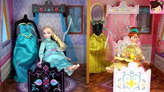 Cover images Elsa & Anna  Princess Bedroom Holiday Morning Routine -  Frozen Arendelle Castle Doll House
