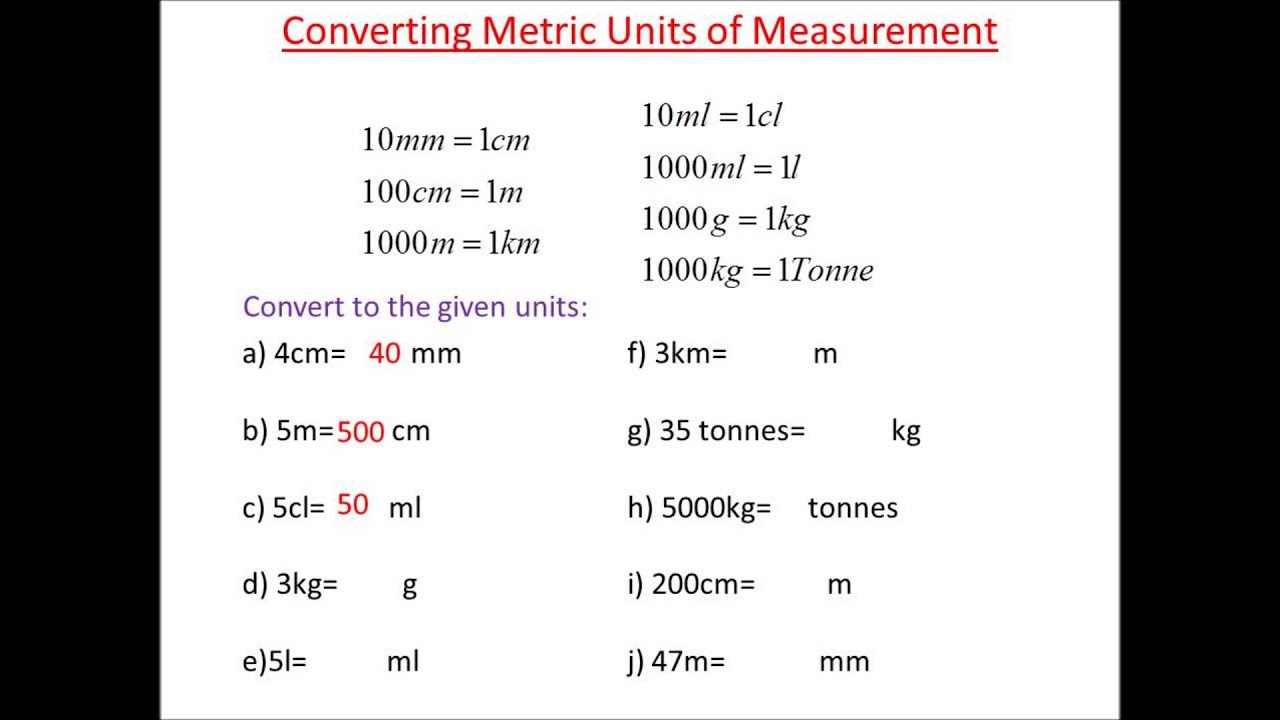 worksheet Metric Conversion Quiz metric conversions practice youtube practice