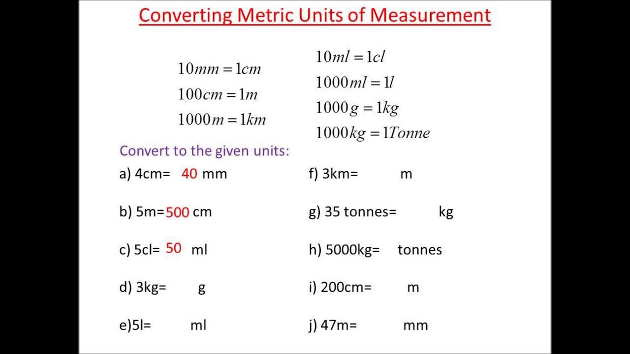 Metric Conversions Practice