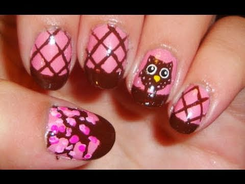 Brown and pink owl nail art youtube prinsesfo Image collections