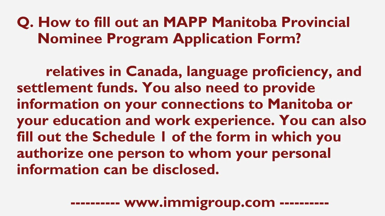 how to fill out an mapp manitoba provincial nominee program how to fill out an mapp manitoba provincial nominee program application form