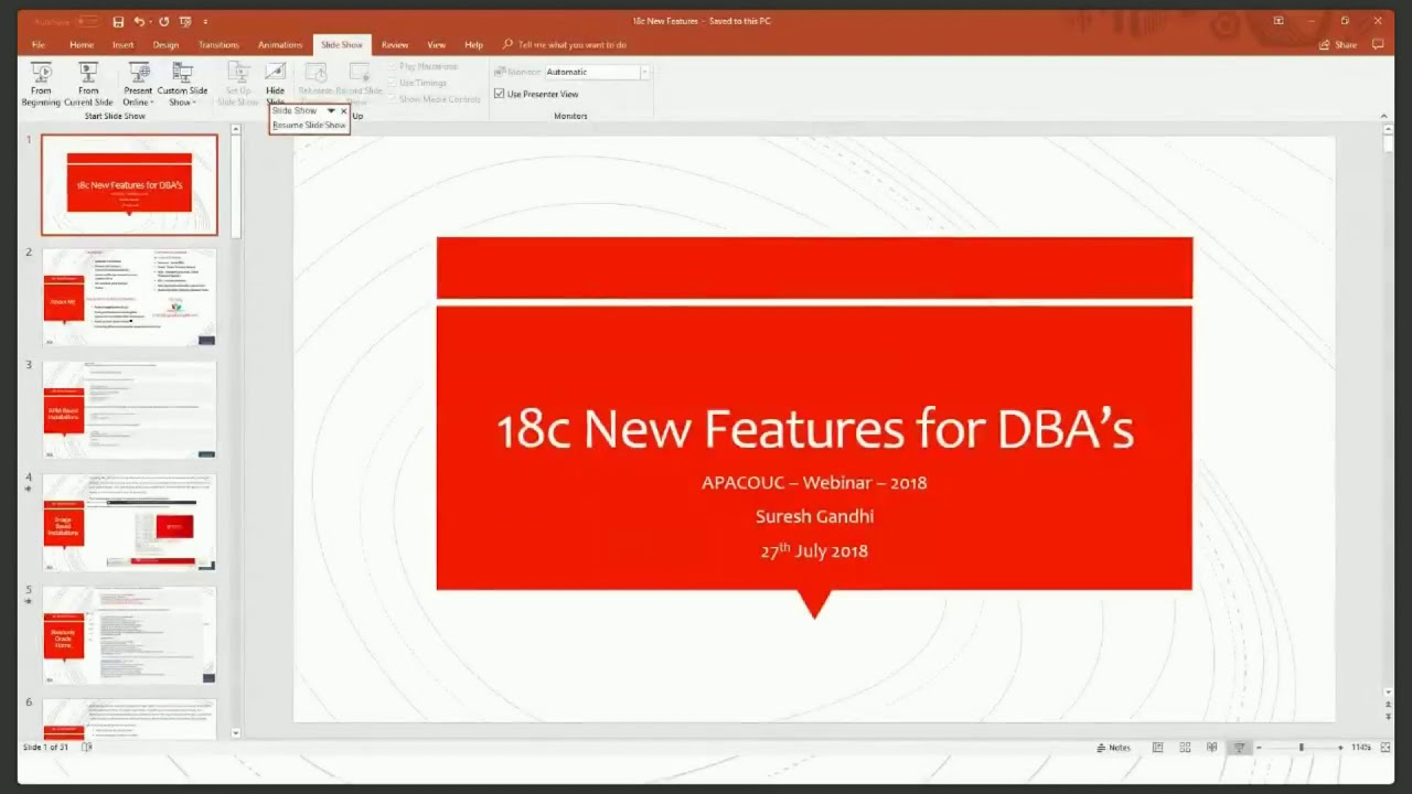 Oracle 18c New Features for DBA's by Suresh Gandhi