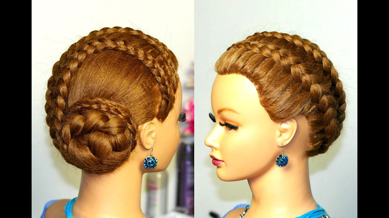 Braided updo hairstyle for long hair French braids