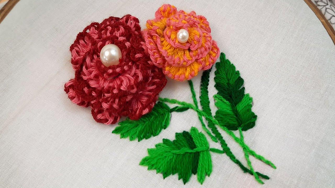 Latest fantasy flower embroidery design#modern hand embroidery flower designs@Nakshi Katha