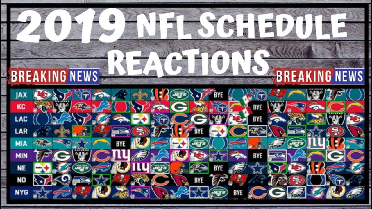 Nfl Schedule 2019 Nfl Schedule Release Preview And Reactions Fantasy Football Outlook