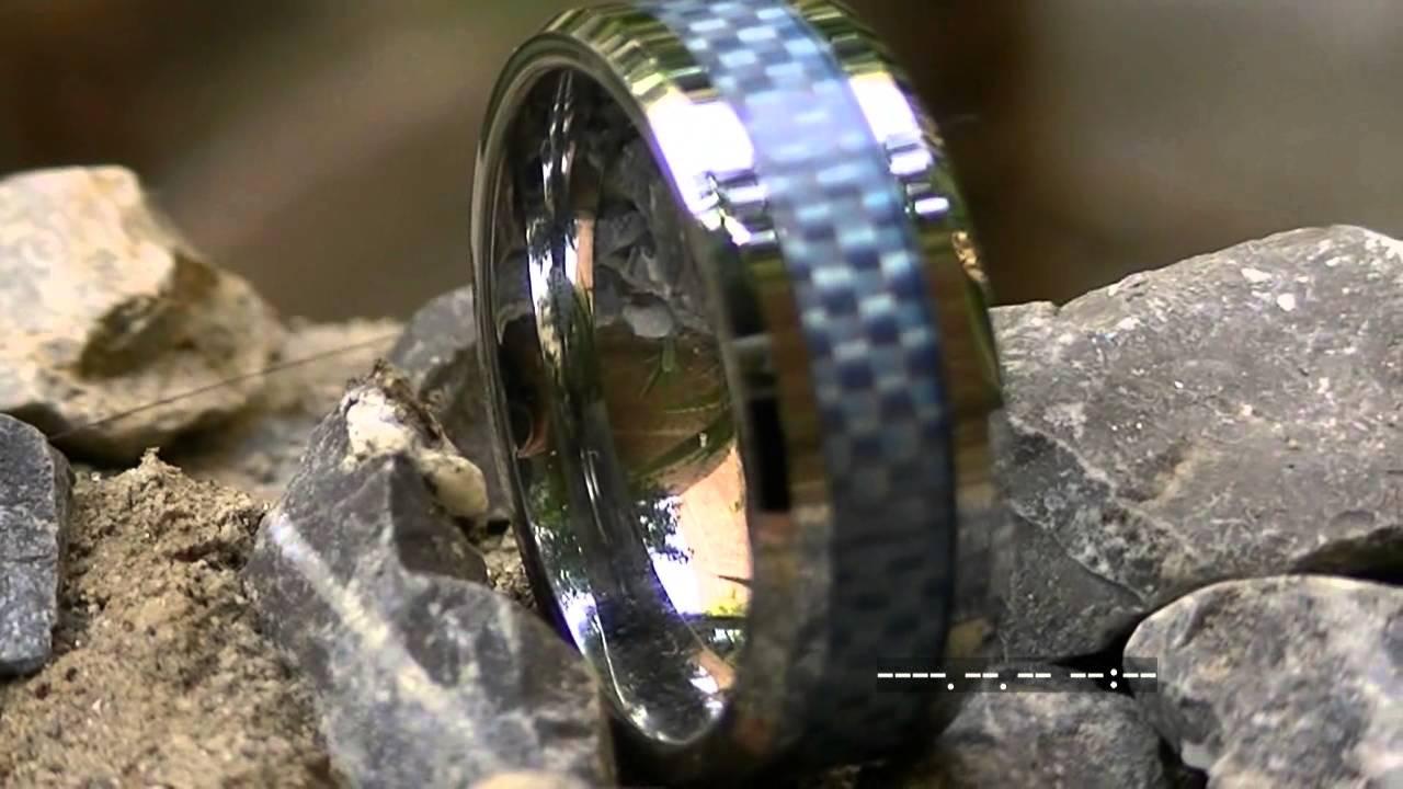 Tungsten Carbide Ring Inlay Blue Carbon Fiber Hand Woven