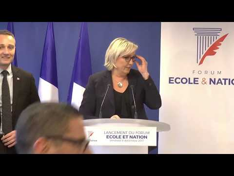 Lancement du Forum Ecole et Nation, avec Marine Le Pen