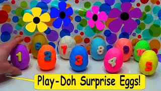 Teach baby to count with Play Doh surprise eggs!