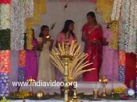 Decorated dais for Hindu Marriage, Kerala, India