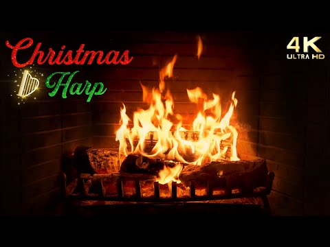 4K Christmas Fireplace with Music & Crackling - Traditional Christmas Harp - Cozy Christmas Ambience