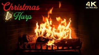 4K Christmas Fireplace with Music & Crackling  Traditional Christmas Harp  Cozy Christmas Ambience