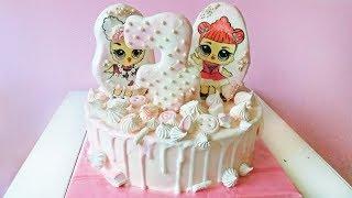 """Нежный торт с подтеками и пряниками """"Милые куклы Лол """" /  LoraCake"""