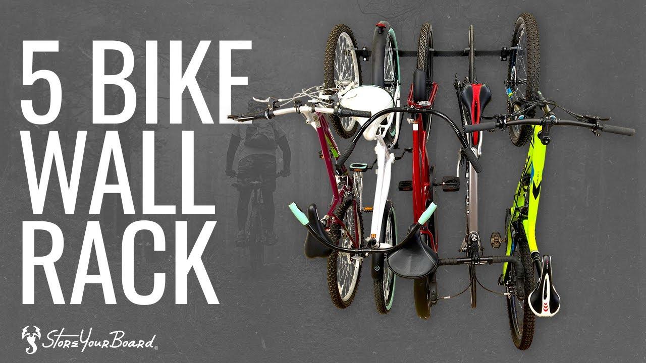 Details about  /Bike Rack Garage Storage 5 Bicycles Hooks Wall Mount Bike 8 Hooks and 3 Rails