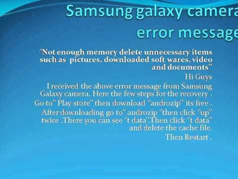 Samsung galaxy camera error message (recovery)
