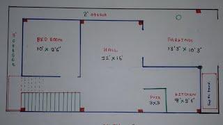 20 × 40 east face house  plan