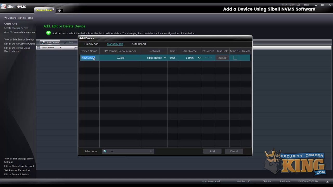 Tutorial: Add a device on NVMS Software