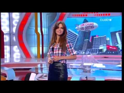 Romina Belluscio in very short tight leather skirt