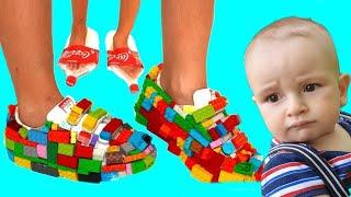 New shoes Lego & Coca Cola shoes - أحذية جديدة أحذية Lego & Coca Cola - Funny Kids and Alice