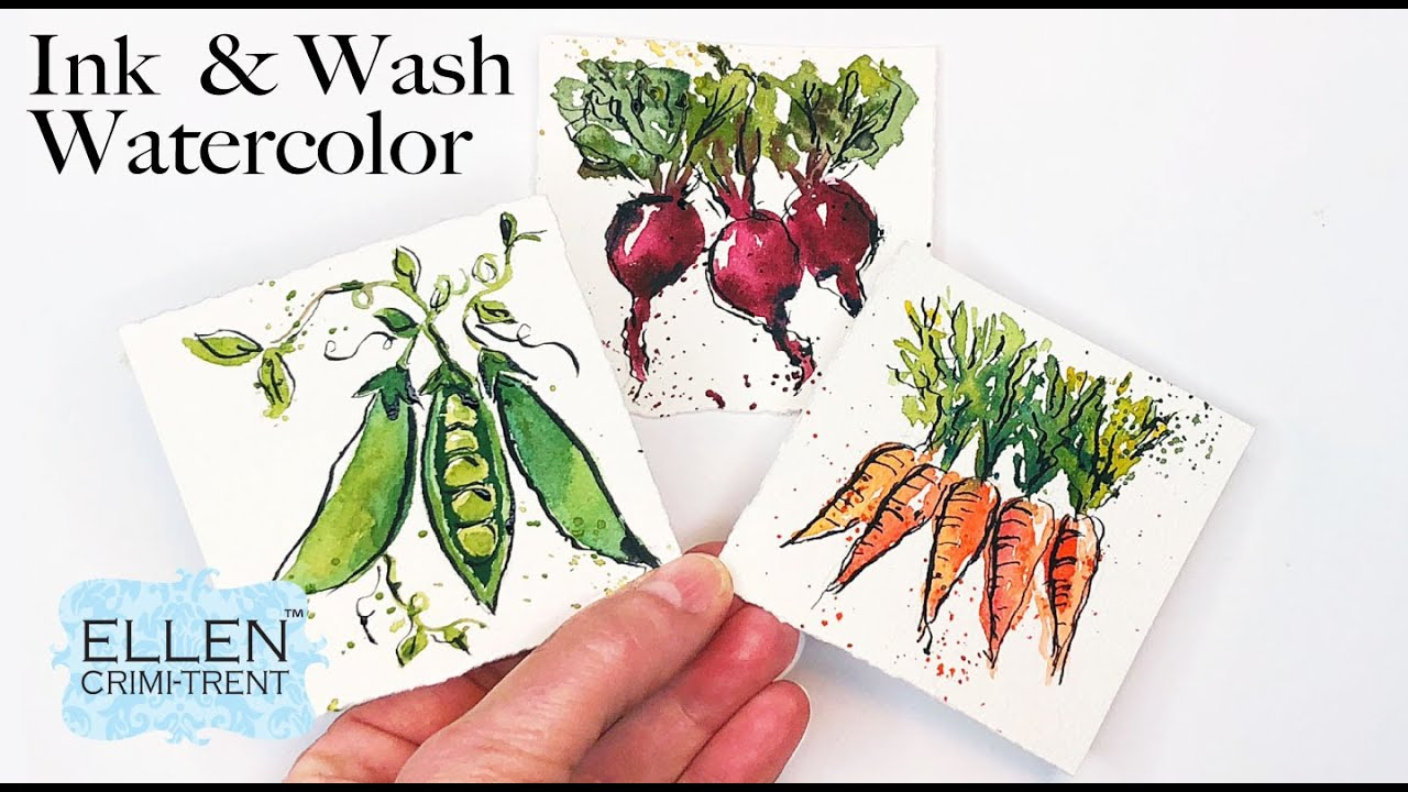Ink and Watercolor Vegetables