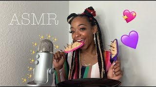 ASMR | EATING MY EDIBLE HAIR BRUSH 💇🏽‍♀️ CRUNCHY EATING SOUNDS