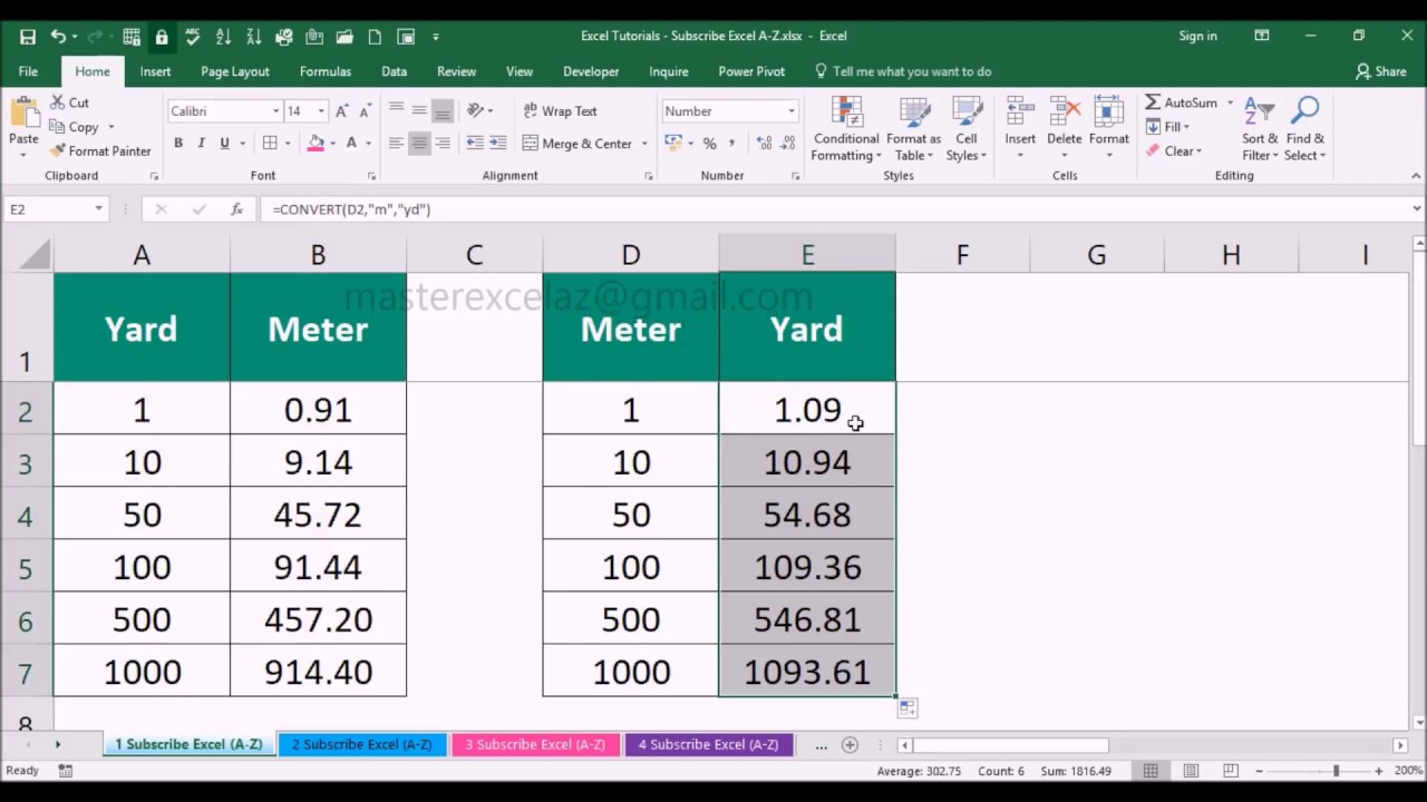 Yard to Foot | Excel Formula Tutorial