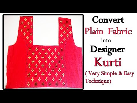 DIY : Very Simple Way to Convert Plain Fabric into Designer Kurti | Make Designer Wear at Home